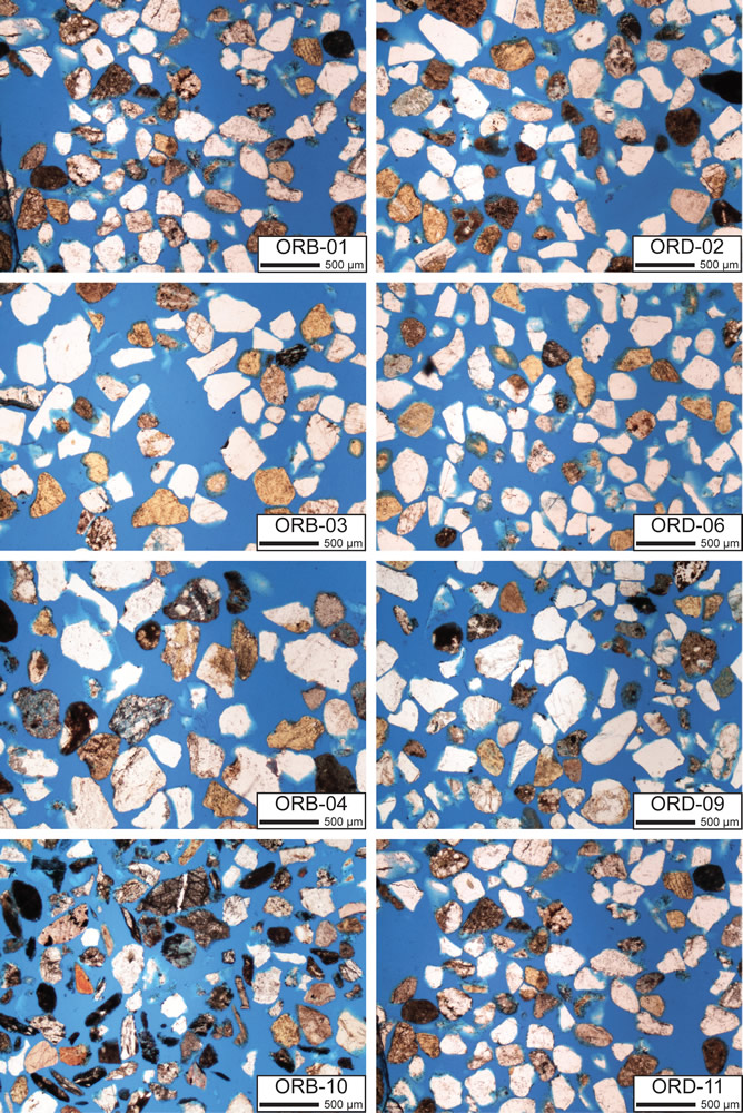 Fig. 3a. Thin sections of beach-dune samples from Oregon.