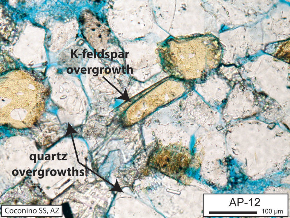 Fig. 7. Both quartz and K-feldspar (more rarely) overgrowths can occur due to a new crystal growing around the edges of a weathered grain.
