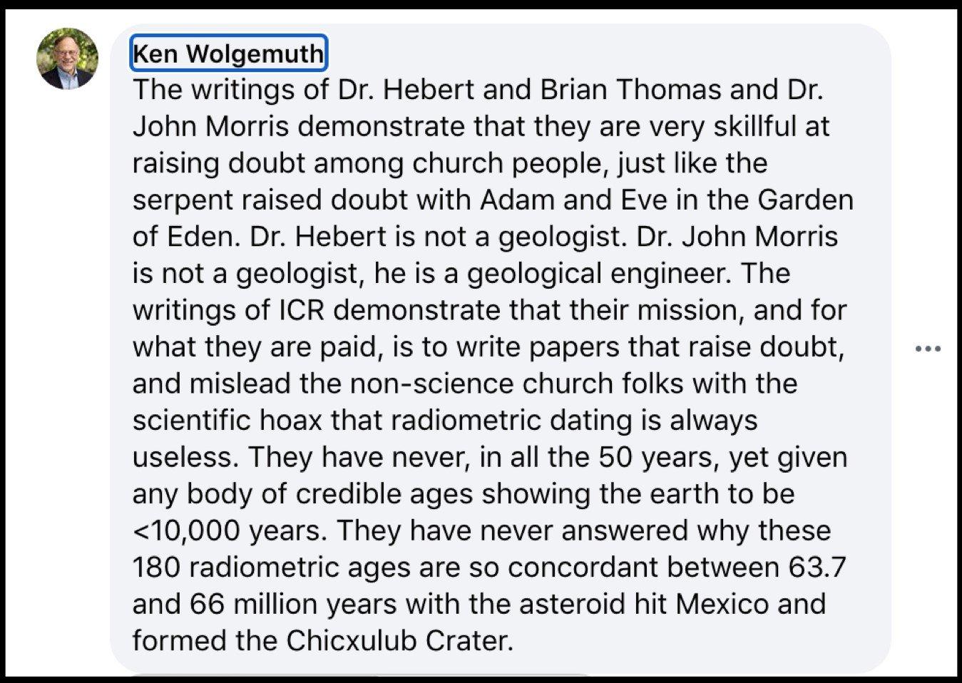 Ken Wolgemuth's Facebook page