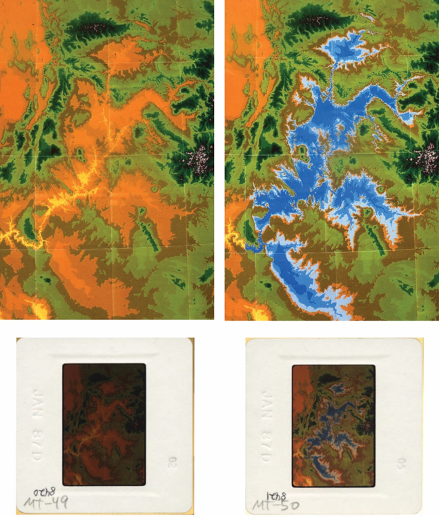 Two Original Paper Elevation Maps of the Colorado River Drainage Basin